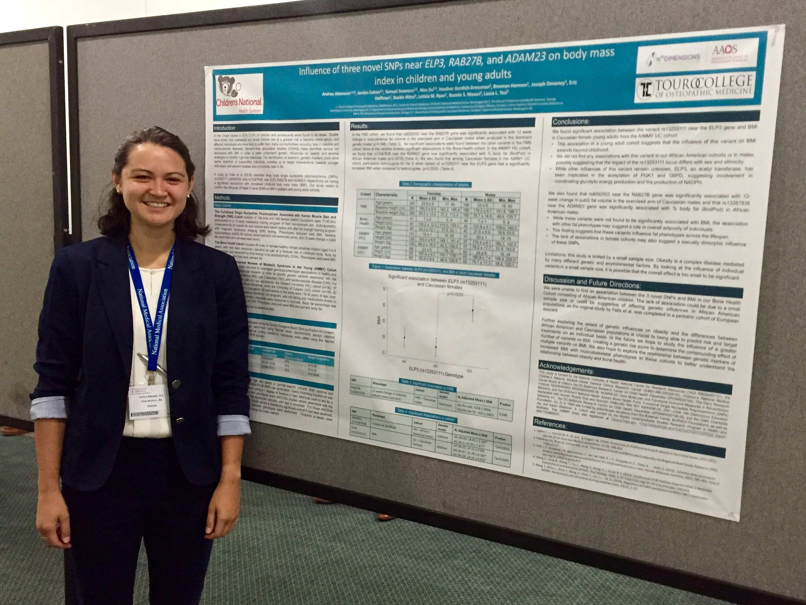 OMS II Middletown Campus student Andrea Attenasio spent her summer in Children's National Medical Center shadowing the head of the bone health department and researching genetic variances.
